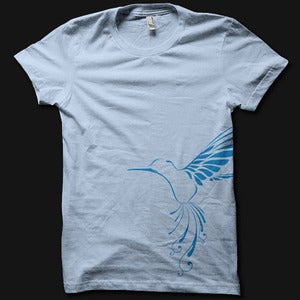 Image of Womens Bird Tee - Baby Blue