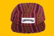 Image of Orchard 5 Panel Hat - Wine Aztec Text Logo