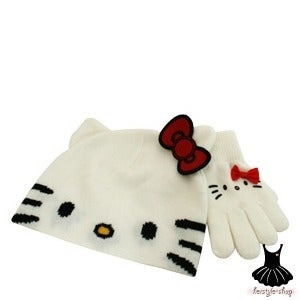 Image of HELLO KITTY FACE WHITE BEANIE AND GLOVE SET