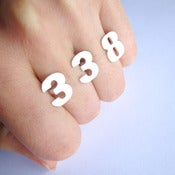 Image of Custom 3 number 2finger ring - Handmade Silver Ring