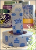 Image of Steel Blue Robots Washi Tape - Japanese Masking Tape - Titus Crazy Robots - 15mm x 15m