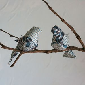 Image of Little Boy Blue Winged Duo Bird Mobile (One-of-a-Kind)