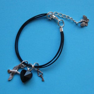Image of Gothic Midnight Heart Friendship Bracelet