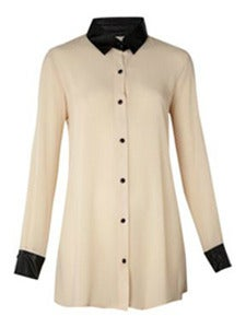 Image of Cream Leather Trim Blouse