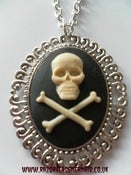 Image of Skull and Cross Bones Cameo Necklace