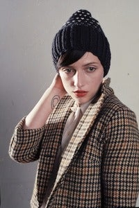 Image of elora checked patterned merino wool slouchy toque
