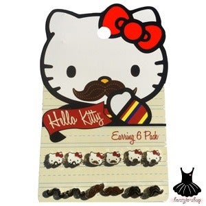 Image of HELLO KITTY MUSTACHE EARRING PACK