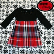 Image of Plaid Pleated Dress with Bow & Sequin Collar – Size 12 Months