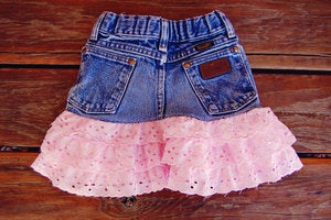 Image of Pink Lace Upcycled Wrangler Skirt