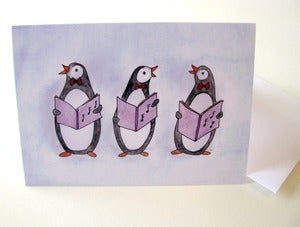 Image of Penguins Singing - Winter Holiday Greeting, Single Card