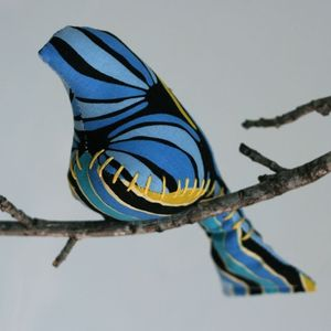 Image of Blues, Gold, &amp; Black. Strong. Simple. 2-Bird Mobile (One-of-a-Kind)