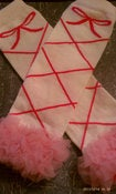 Image of CREAM &amp; PINK BALLERINA Leg Warmers w/ Chiffon Ruffles