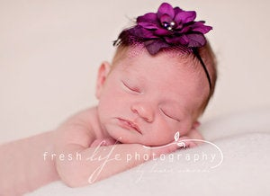 Image of THE SASHA--Purple and Fuschia Flower Headband on Skinny Elastic--Newborn Prop