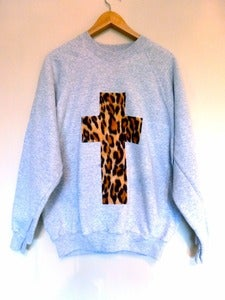 Image of Leopard Cross Grey Sweater
