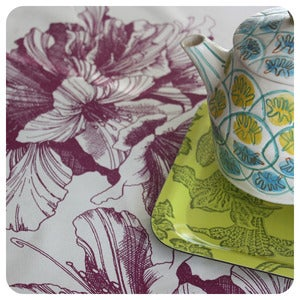 Image of Tea-towel | Rhododendron: Aubergine