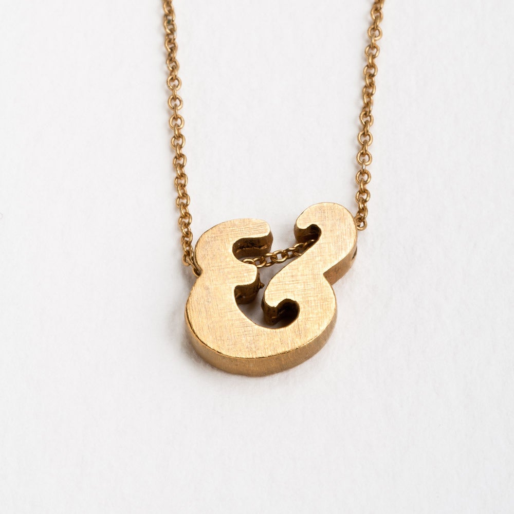 Image of 18k vermeil block letter initial necklace - ampersand