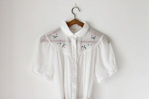 Image of 1970s white shirt dress