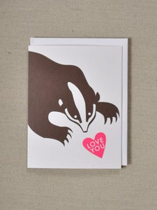 Image of Pink and Brown - Badger with Love You message