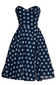 Image of  Blue Polka dot 50s Inspired Full Circle Rockabilly Dress