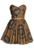 Image of African print Gold and Navy tribal dress