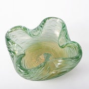 Image of green and gold art glass vessel