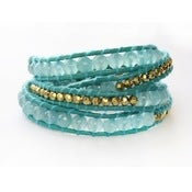 Image of *SOLD OUT* Turquoise & Gold Wrap Bracelet