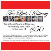 Image of Gift Certificates in $25, $50, $75, and $100