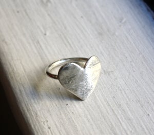Image of Flat Silver Heart Ring