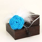 Image of Rose Feathered Headband in Turquoise