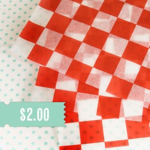 Image of Red & White Checkered Basket Liner
