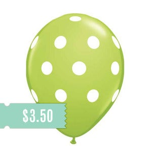 Image of 5 Lime Polka Dot Balloons