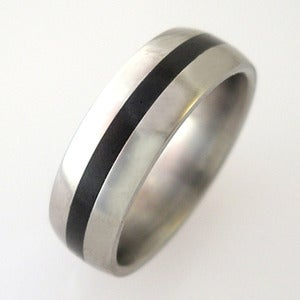 Image of Titanium Jet Inlay Band