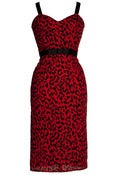 Image of Plus Size Red Leopard Pencil Dress With Straps