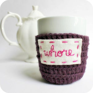 Image of Funny coffee mug Whore crochet handmade