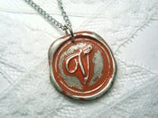 Image of Terra Cotta/Burnt Orange Wax Seal Pendant Necklace by Ritzy Misfit