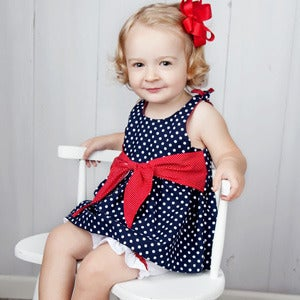 Image of Baby Dress Pattern - Big Bow Baby Dress/Top - PDF Sewing Pattern
