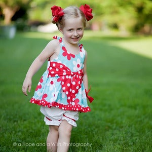 Image of Girls Dress Pattern - Big Bow Dress or Top sizes 2-8 - Downloadable Sewing Pattern