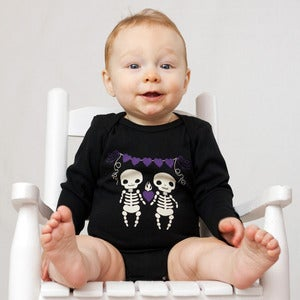 Image of Skeleton Long Sleeve Organic Onesie/Tee