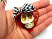 Image of Lady in a Red Hat Giant Sugar Skull Necklace Pendant Skull Jewelry