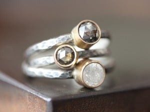 Image of Natural Silvery White Diamond Stacking Ring