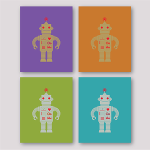Image of Robot Print - Purple, Orange, Green or Turquoise