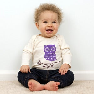 Image of Mimosa Owl Long Sleeve Organic Onesie/Tee 
