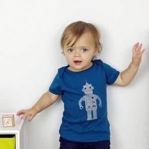Image of Silver on Blue Sparkle Robot Short Sleeve Organic Onesie/Tee
