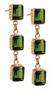 Image of  Kara Ackerman <i> Judie <i/> Emerald Cut 3 Drop Peridot Earrings