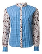Image of Alien Print Long Sleeve Stand Collar Shirt (blue)