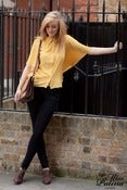 Image of 'Spring Dreamer' Pointed Collar Butterfly Wing Blouse (Mustard)