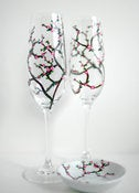 Image of Personalized Cherry Blossom Toasting Flutes and Ring Dish-3 Piece Personalized Wedding Collection