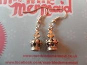 Image of Tiny Queens Crown Silvertone Earrings
