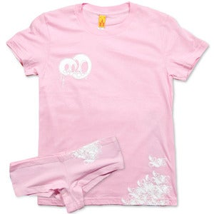 Image of LOVE SKULLS - women's pink tee & undies set