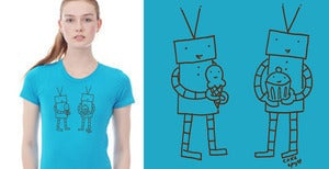 Image of CakeSpy Robots Eating Cupcakes T-Shirt